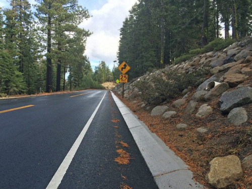 Rock slope stabilization and gutter pans added to sections of Highway 89 between Meeks Bay and Emerald Bay